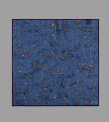 Blue Skiing Print Wool-Silk Pocket Square