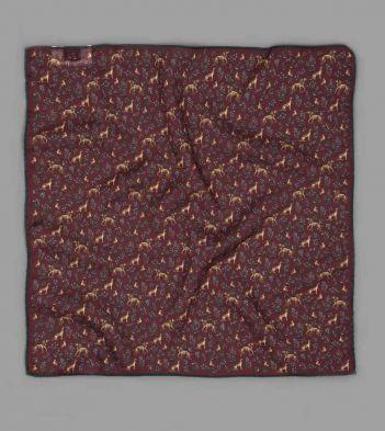 Drake's x Aimé Leon Dore Burgundy Hound Print Wool-Silk Pocket Square