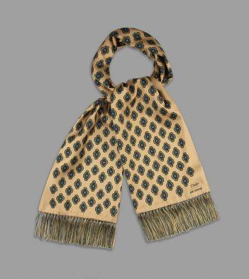 Aimé Leon Dore for Drake's Buff and Green Medallion Print Tubular Silk Scarf