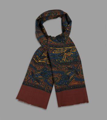 Rust Floral Paisley Print Wool Scarf