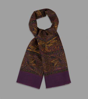Magenta Floral Paisley Print Wool Scarf