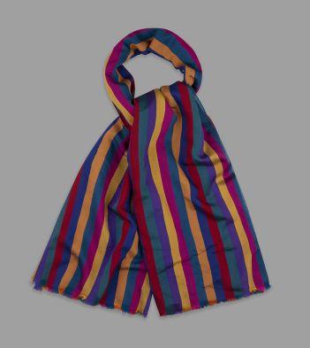 Multi-Colour Broad Stripe Viscose-Silk Scarf