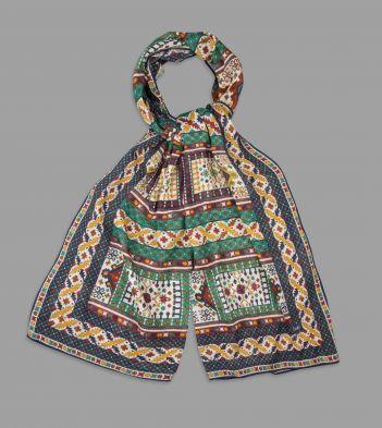 Navy Ornate Tile Print Cotton-Modal Cashmere Scarf