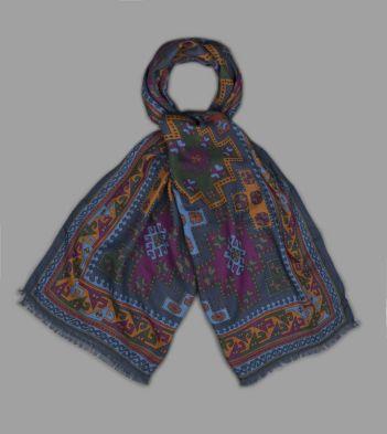 Blue Bold Kilim Print Wool-Silk Scarf
