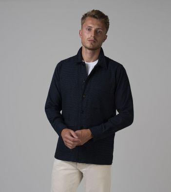 Navy Houndstooth Cotton Five-Pocket Overshirt