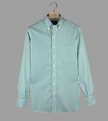 Green Bengal Stripe Cotton Poplin Button-Down Shirt