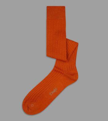 Orange Wool-Nylon Over-the-Calf Socks