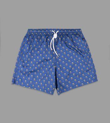 Blue Beach Print Swimming Shorts