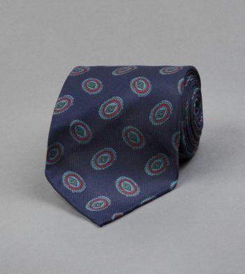 Navy Oval Motif Print Silk Tie