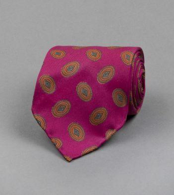 Magenta Oval Motif Print Silk Tie