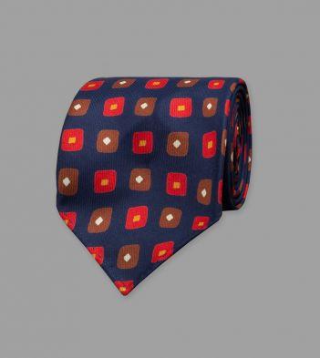 Navy Rhombus Print 36oz Madder Silk Tie