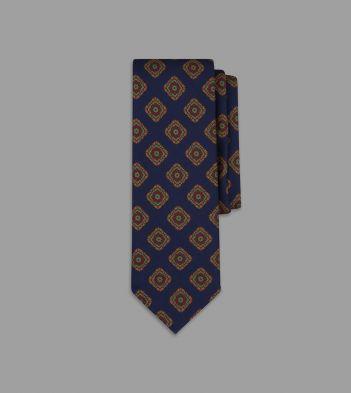 Blue Floral Medallion Print Silk Tie