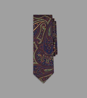 Navy Dense Paisley Print 36oz Madder Silk Tie