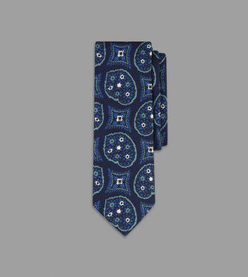 Navy Freehand Paisley Pine Print Silk Tie