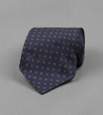 Dark Blue Micro Floral Print Silk Tie