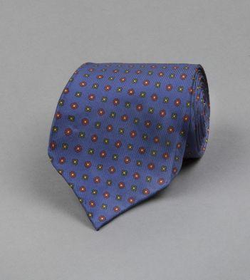 Blue Micro Floral Print Silk Tie