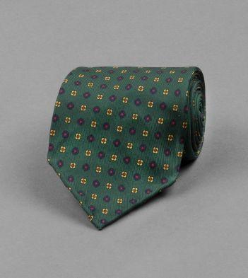 Green Micro Floral Print Silk Tie