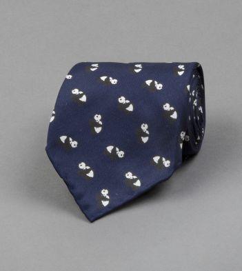 Navy Panda Print Silk Tie