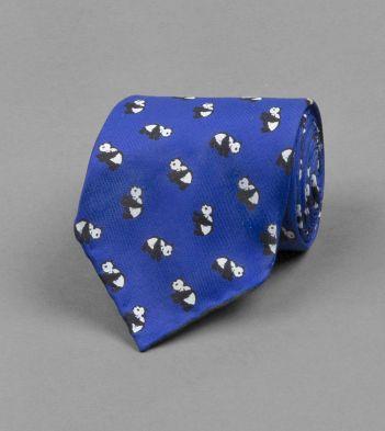 Blue Panda Print Silk Tie