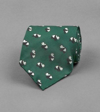 Green Panda Print Silk Tie