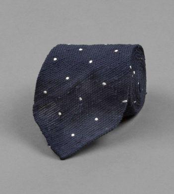 Navy Shaggy Grenadine Spot Tie