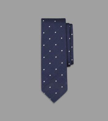 Navy Embroidered Spot Grenadine Silk Tie