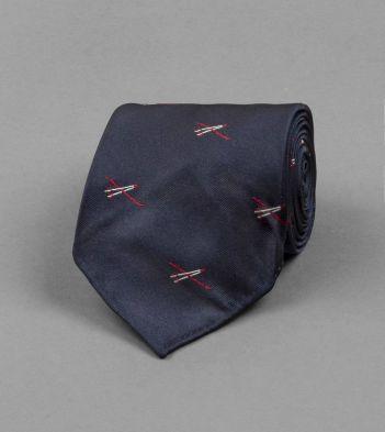 Navy Ski Motif Silk Tie