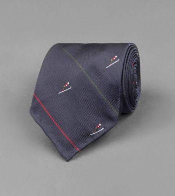 Navy Skier Motif Silk Tie