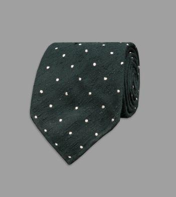 Green Spot Shantung Silk Tie