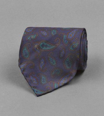 Navy Geometric Paisley Print Silk Tie
