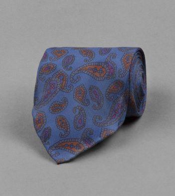 Blue Geometric Paisley Print Silk Tie