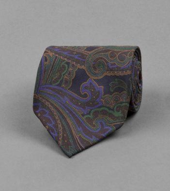 Navy Large Paisley Print Silk Tie