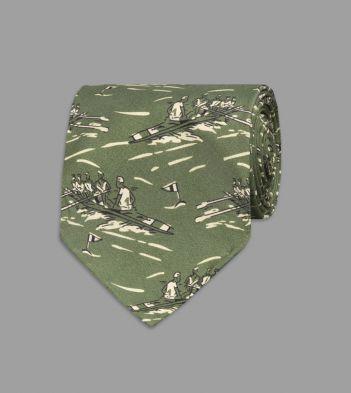 Khaki Row Boat Print Silk Tie