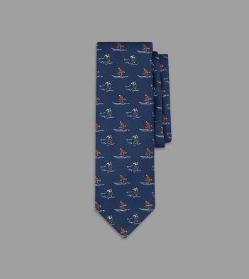 Navy Skier Print Silk Poplin Tie