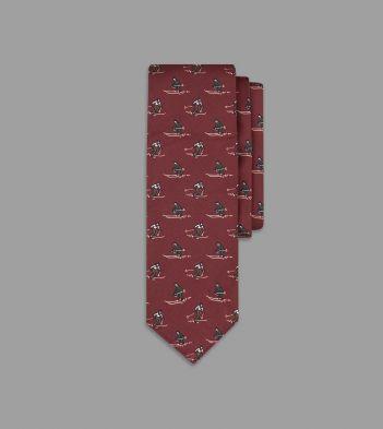 Red Skier Print Silk Poplin Tie
