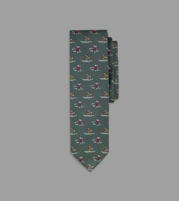 Green Skier Print Silk Poplin Tie