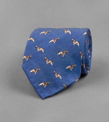 Blue Basset Hound Print Wool Tie