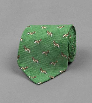 Green Basset Hound Print Wool Tie