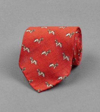 Red Basset Hound Print Wool Tie