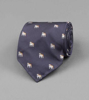 Navy Bulldog Motif Silk Tie