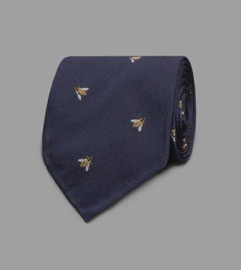 Navy Wasp Motif Silk Tie