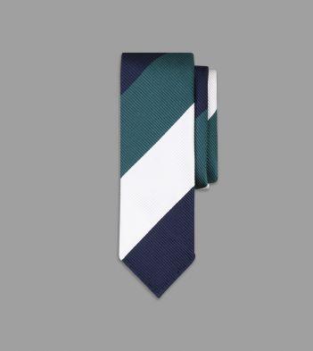 Navy, Green and White Broad Stripe Jumbo Repp Silk Tie