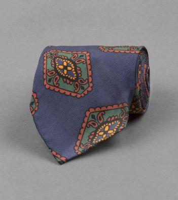 Navy Rhombus Tile Print Silk Tie