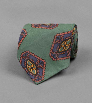 Green Rhombus Tile Print Silk Tie