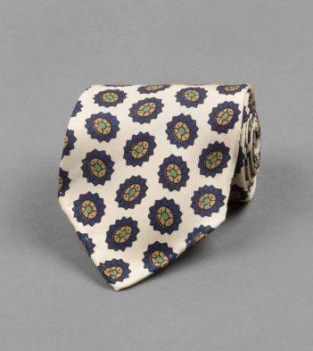 Cream Star Floral Motif Print Silk Tie