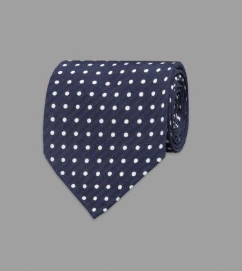 Navy Spot Print Silk Seersucker Tie