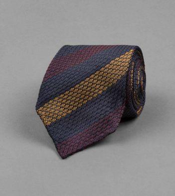 Navy, Burgundy and Gold Stripe Chunky Grenadine Silk Tie