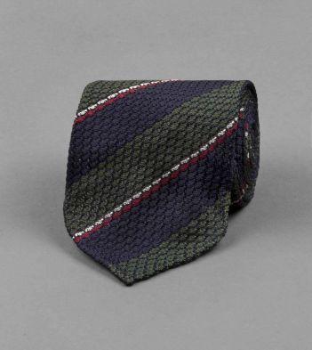 Navy, Green and Red Stripe Chunky Grenadine Silk Tie