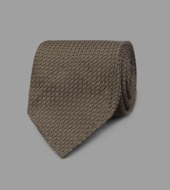Khaki Handrolled Large Knot Grenadine Tie