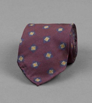 Burgundy and Navy Tumbling Square Motif Silk Tie